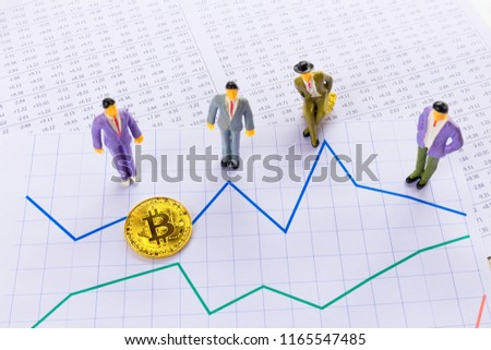 Bitcoin digital currency stock market financial positive indicator background. Double exposure of growth digital futuristic business chart crypto computer market financial investor trade golden money.