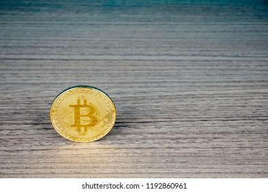 Bitcoin digital decentralised peer to peer on a wooden table