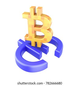 Bitcoin dollar euro signs isolated 3d