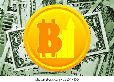 Bitcoin and dollars on background