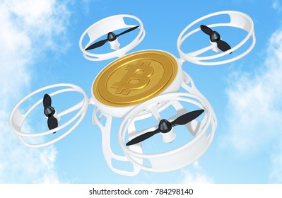 Bitcoin Drone Flying Concept 3D Illustration