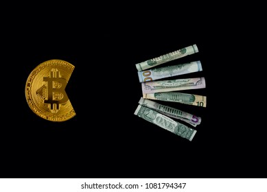 Bitcoin eating dollar symbol of its economic power. For articles or publications : Bitcoin vs USD dollar, Cryptocurrency-Strong, Stable and Better Than Gold and other currencies. Copy space for text.