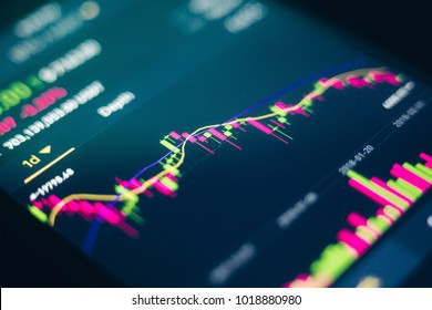 Bitcoin electronic cryptocurrency price volume on market screen useful for background
