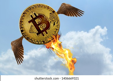 Bitcoin electronic cryptocurrency with wings in the form of a rocket jet flies into the blue sky, fire, the concept of a sharp change of course to positive