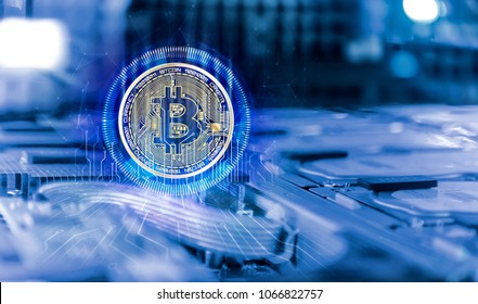 bitcoin with electronic spikes Inside high performance computer server depth of field blur. Computer circuit board concept of cryptocurrency mining