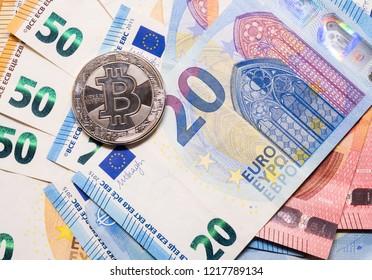 Bitcoin Euro background. Bitcoin cryptocurrency