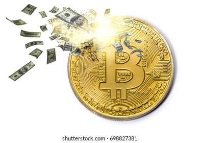 bitcoin exploding with dollars 3D illustration