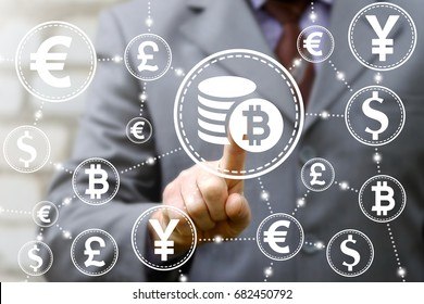 Bitcoin Finance Web Money concept. Man presses coins bitcoin button on virtual screen.