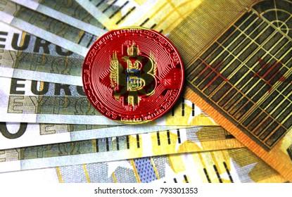 bitcoin with a flag on money euro