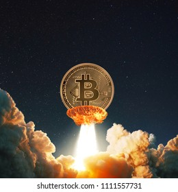 bitcoin  fling to space  on fire and born  smoke