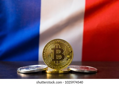 Bitcoin and France Flag. Concept for investors in cryptocurrency and Blockchain Technology in France.