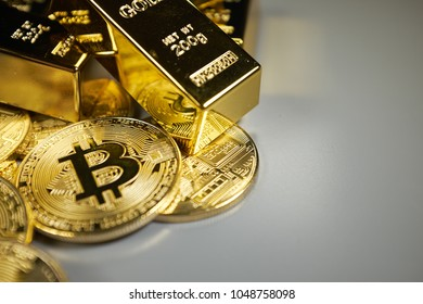 Bitcoin  and gold background