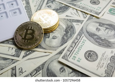 Bitcoin gold coin. Cryptocurrency concept. Virtual currency background.