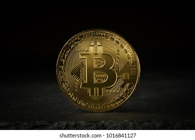 Bitcoin gold coin on black background. Bitcoin cryptocurrency.