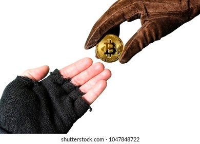 bitcoin gold donation, concept rich and poor