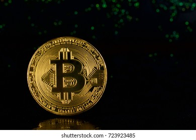 Bitcoin gold on a black background