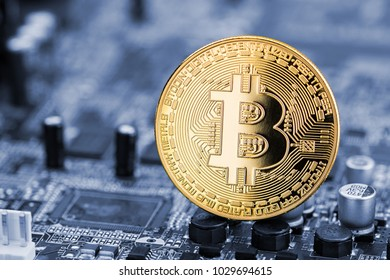 bitcoin golden coin on blue motherboard chip digital mining computer hardware crypto currency financial background concept