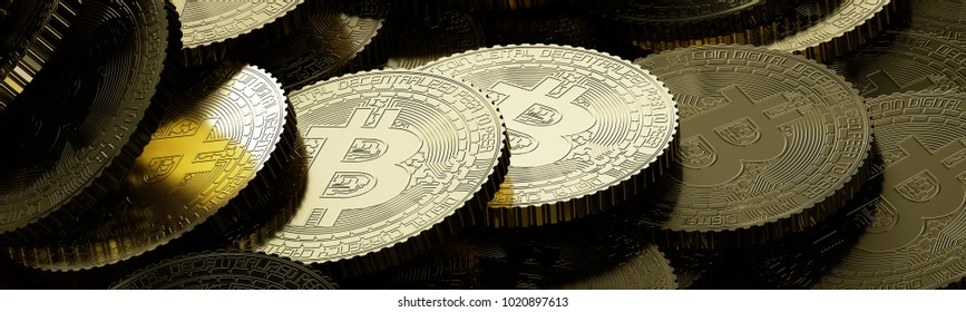 Bitcoin golden coins laying on table 3d rendering
