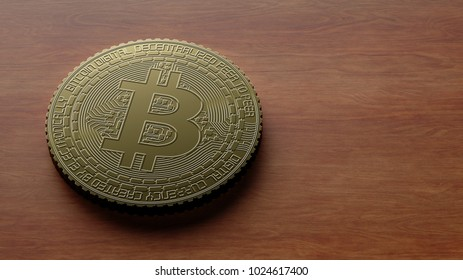 Bitcoin golden coins laying on table 3s rendering