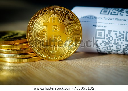 Bitcoin golden coins and paper receipt macro