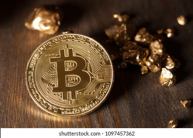 bitcoin with golden nuggets