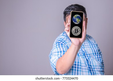 bitcoin in hands showing higher price, bitcoin new heights barrier, digital money investing concept,  ( Elements of this image furnished by NASA.) selective focus