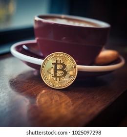 Bitcoin and hot coffee