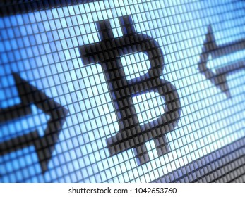 Bitcoin icon on the screen. 3D Illustration.