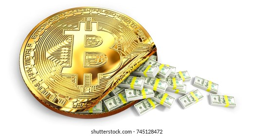 Bitcoin Increased value by show a lot of US Dollar banknote  spill out of a Giant bit coin, Isolated white background. 3d Rendering, Illustration concept.