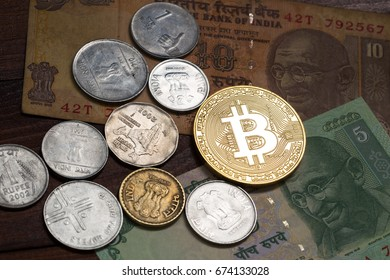 Bitcoin and Indian money.