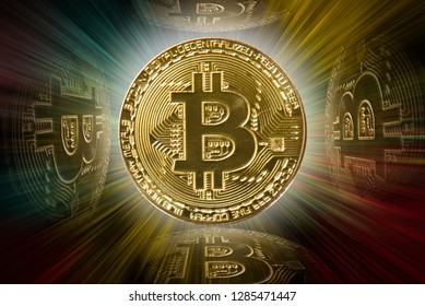 Bitcoin: internet cryptocurrency against colourful background