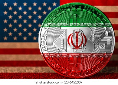 Bitcoin with Iranian flag painted over with the american flag in background / Iran USA conflict concept