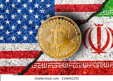 Bitcoin with Iranian and USA flags in background/Iran USA conflict concept