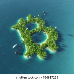 Bitcoin island. Abstract Bitcoin symbol in the form of exotic island. Business success concept. 3d rendered  illustration