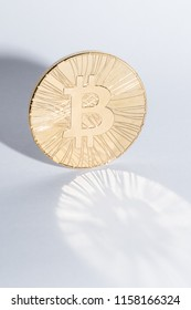 Bitcoin krypto currency golden coin symbolic money with bitcoin sign
