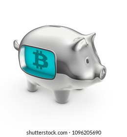Bitcoin LCD piggy bank / 3D illustration of piggy bank with LCD display showing bitcoin symbol