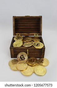 Bitcoin, Litecoin, Crypto coins in treasure chest with gold piggu bank