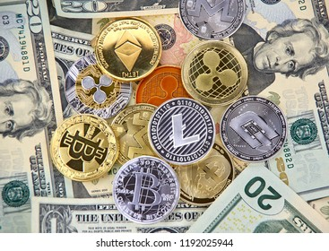 Bitcoin, Litecoin, Dash, Monero and Ethereum crypto currency coins over american USD dollars