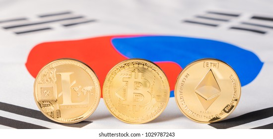 Bitcoin, litecoin and ethereum against South Korean flag