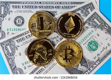 Bitcoin, Litecoin, Ethereum and Dollar