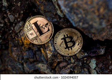 bitcoin and litecoin on the stone background