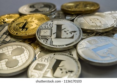 Bitcoin Litecoin Ripple and Dash Cryptocurrency Coins.