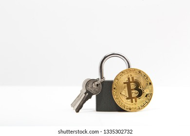 bitcoin with lock. Made in china