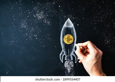 Bitcoin logo rocket launcher, cryptocurrency concept. The growth rate of the gold coin for designers and breaking news. Bitcoin to the moon classic rocket Illustration.