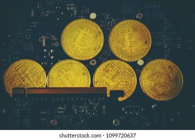 bitcoin metal coin lying on microscheme