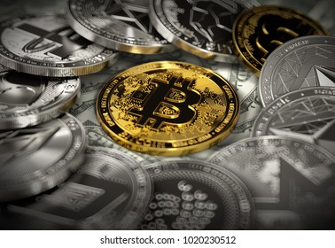 Bitcoin in the middle of cryptocurrency coins in blurry macro shot. Bitcoin in the center of attention concept. 3D rendering