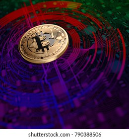 Bitcoin Mining Abstract Background. 3D illustration