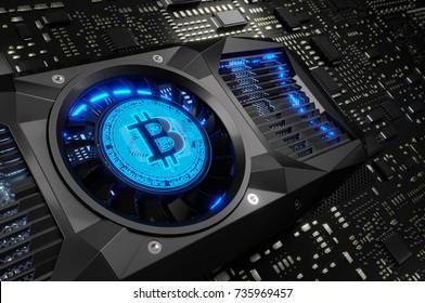Bitcoin Mining Concept. 3D illustration