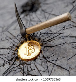 Bitcoin mining concept with pickaxe. 3d illustration