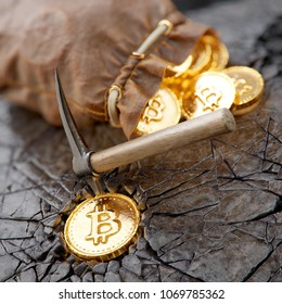 Bitcoin mining concept with pickaxe and leather bag. 3d illustration.